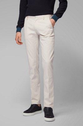 Slim-fit chinos in stretch cotton gabardine, White