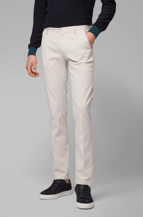 Slim-fit chino in een gabardine van stretchkatoen, Wit