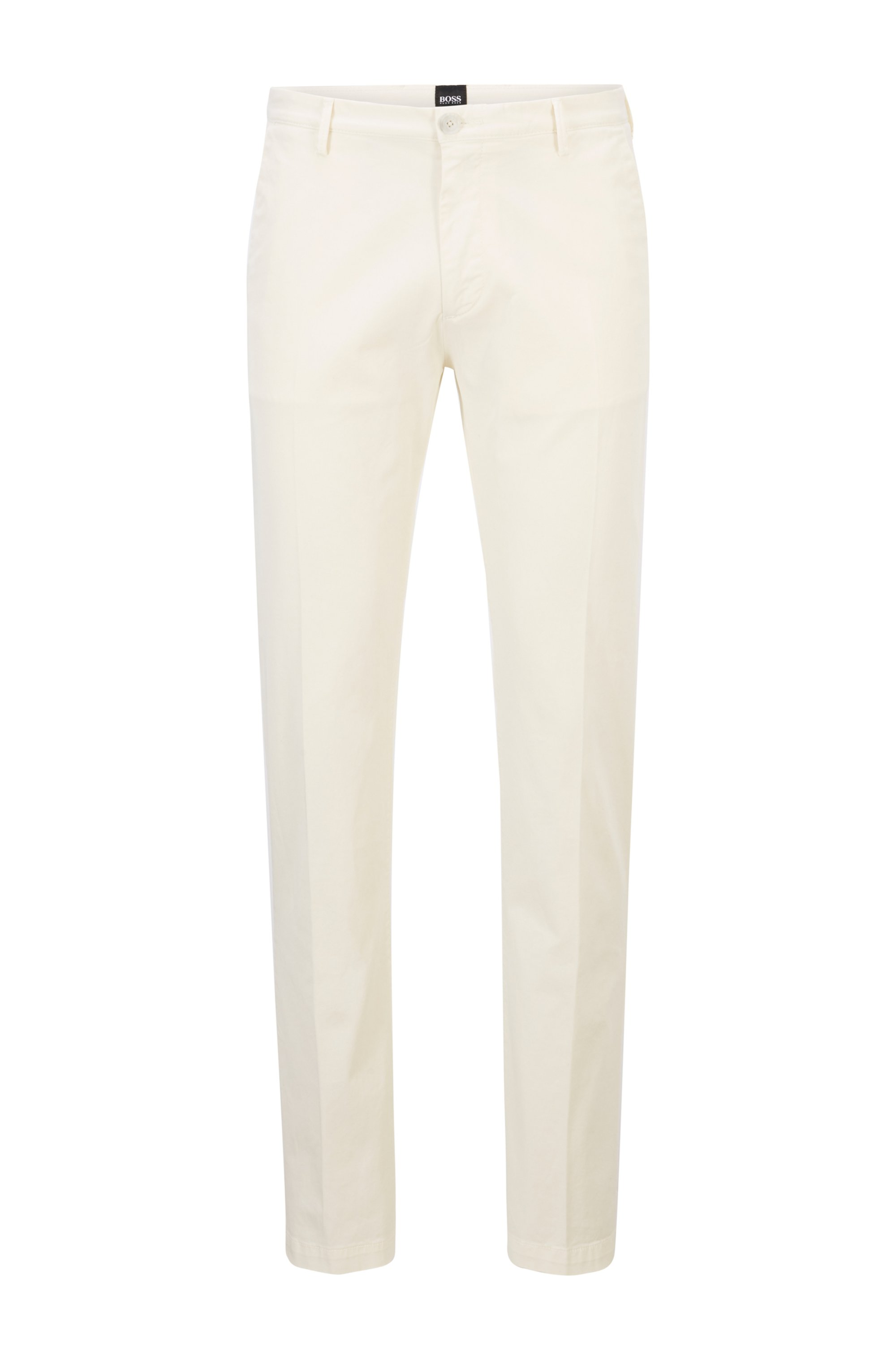 Slim-fit chinos in stretch cotton gabardine, White