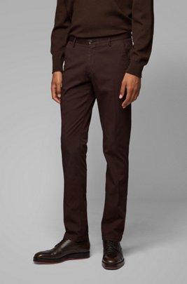Slim-fit chinos in stretch cotton gabardine, Dark Brown
