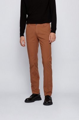 Slim-fit chinos in stretch cotton gabardine, Dark Brown