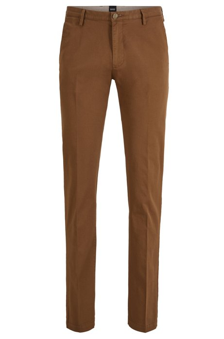 Chino slim fit in gabardine di cotone elasticizzato, Marrone scuro