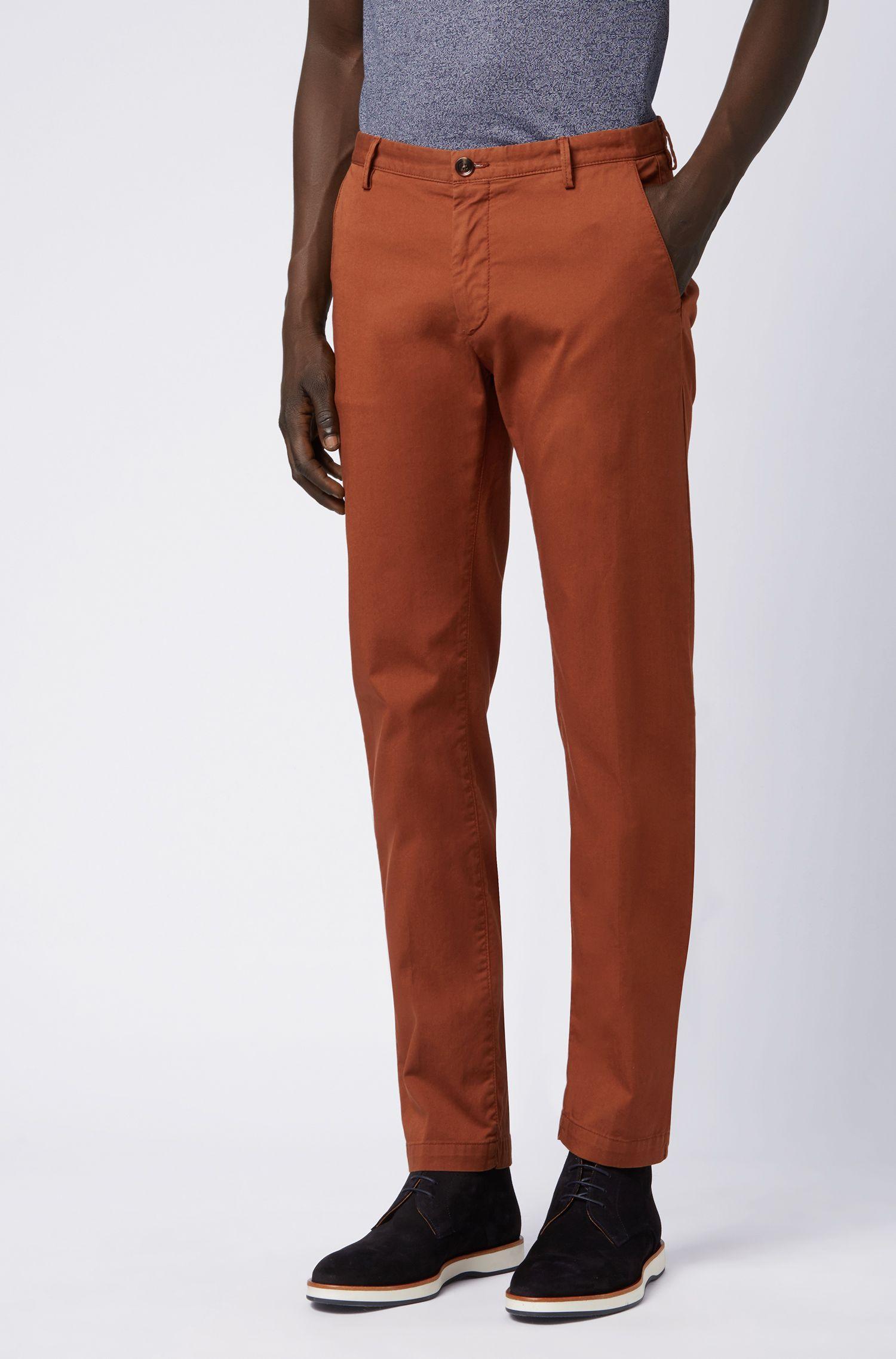 Chino Slim Fit en gabardine de coton stretch, Marron