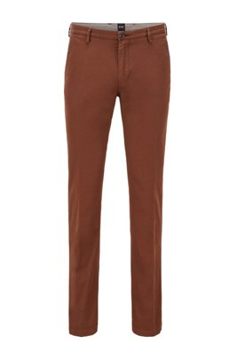 Slim-fit chinos in stretch cotton gabardine, Brown