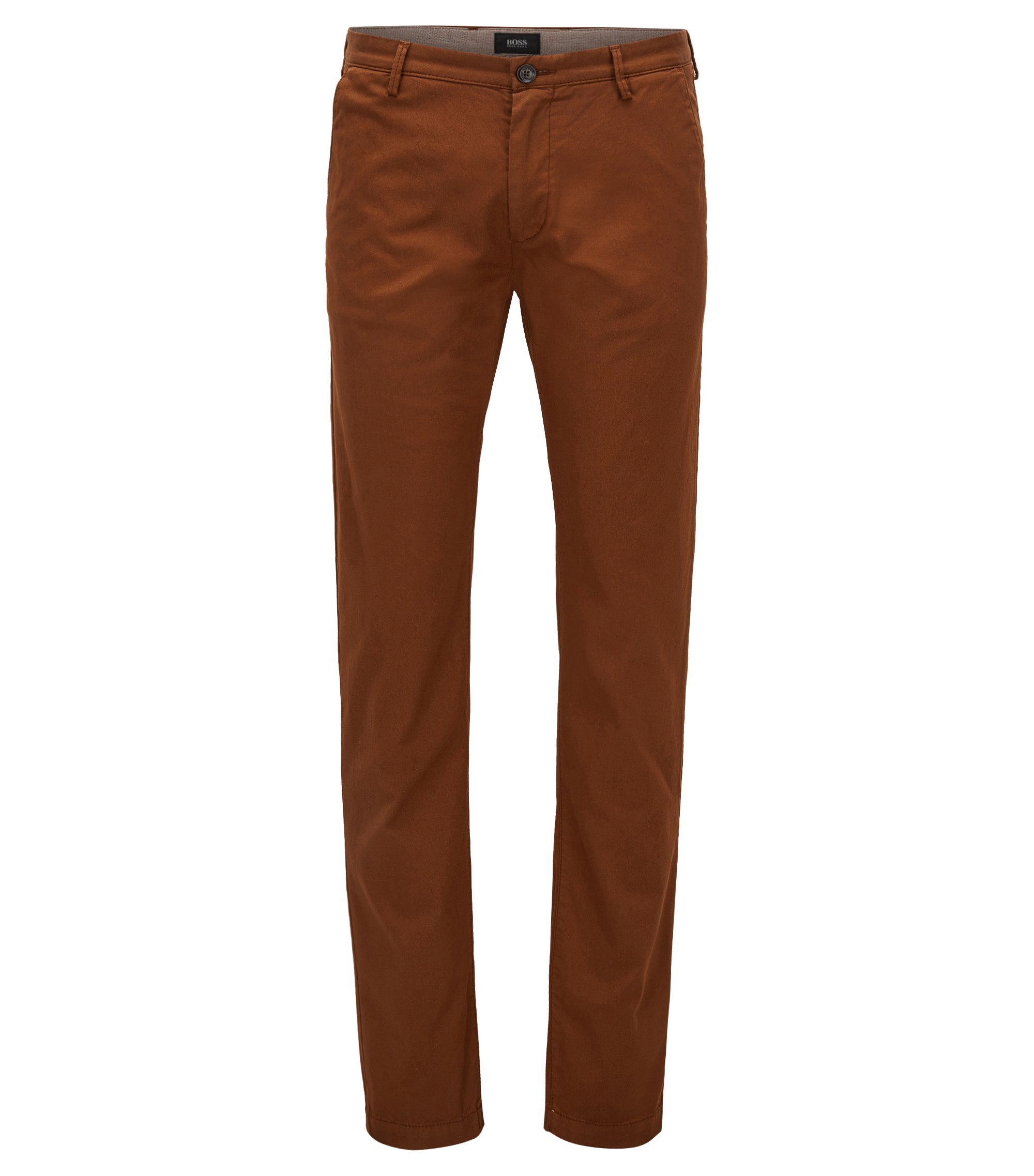 Chino Slim Fit en sergé stretch, Marron