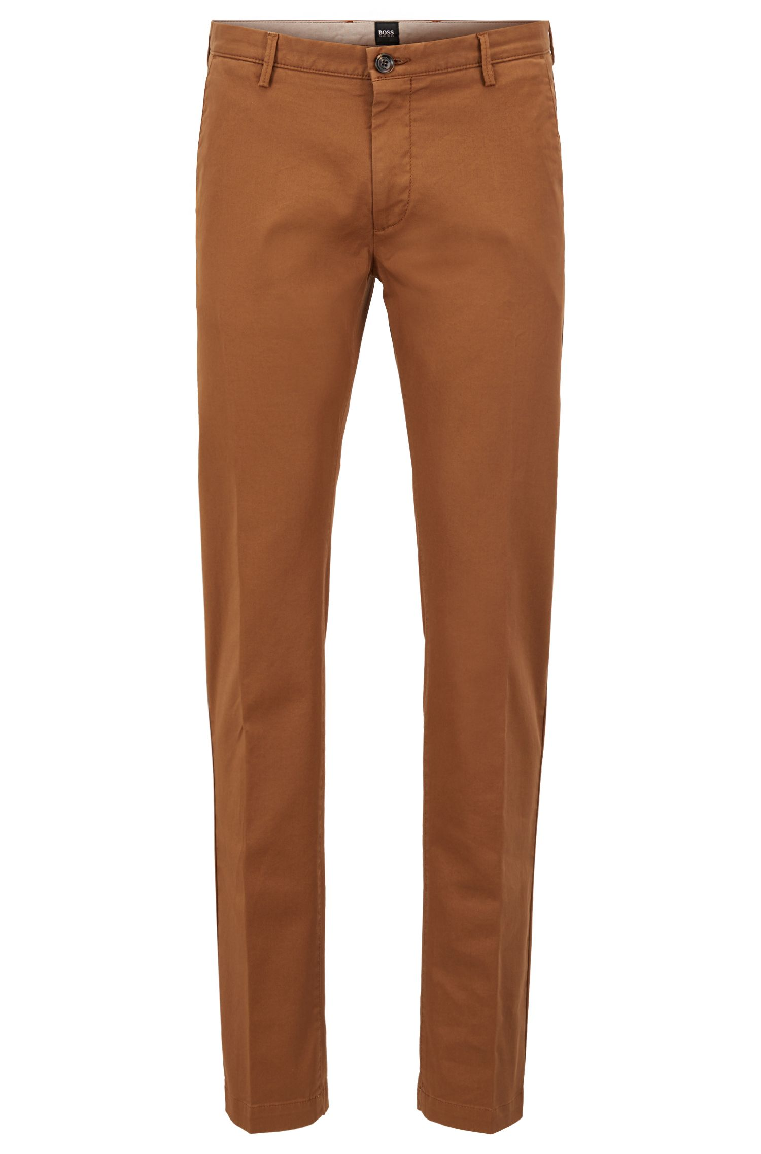 Slim-Fit Chino aus elastischer Baumwoll-Gabardine, Hellbraun
