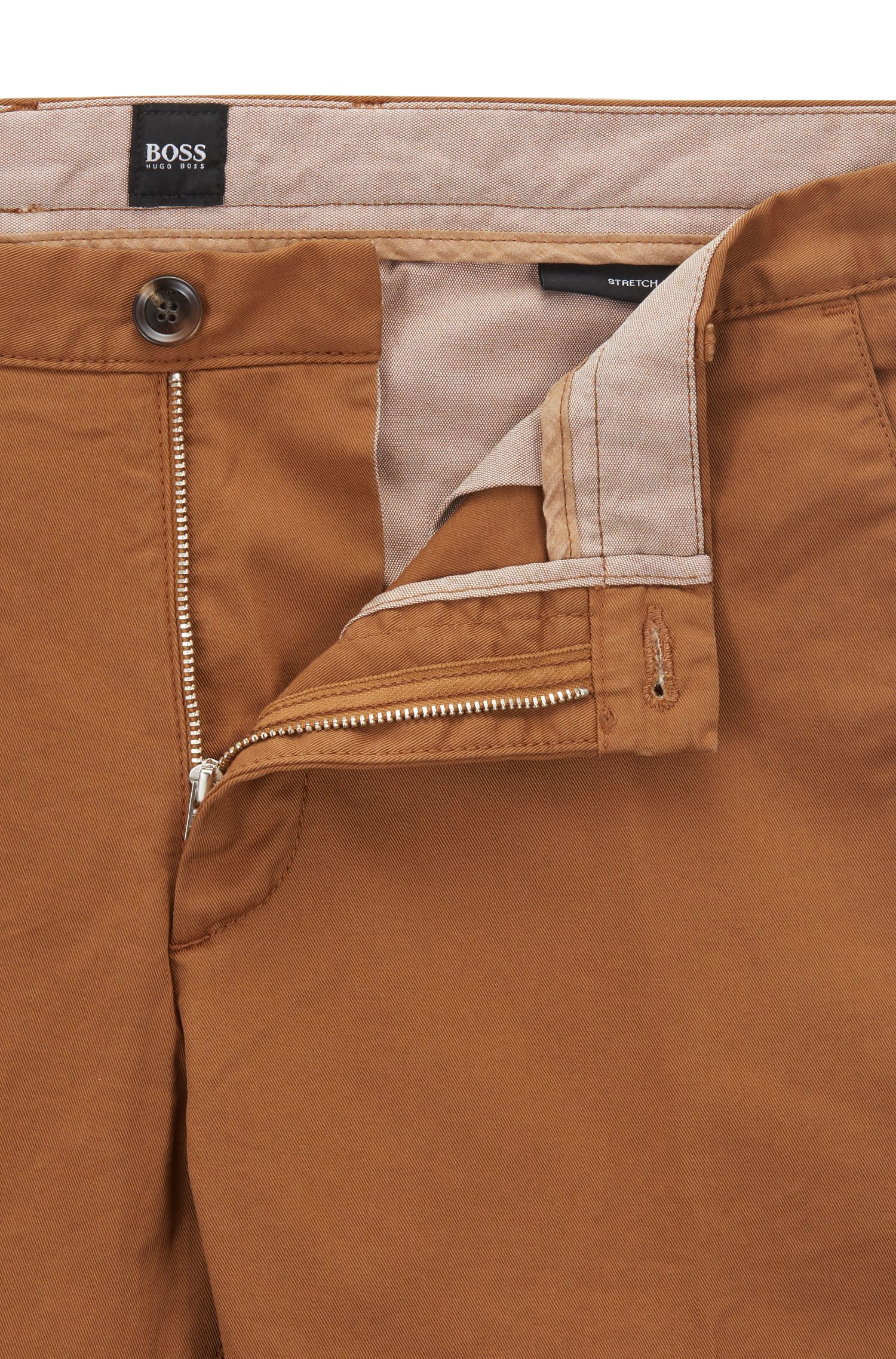Slim-fit chino in een gabardine van stretchkatoen, Lichtbruin