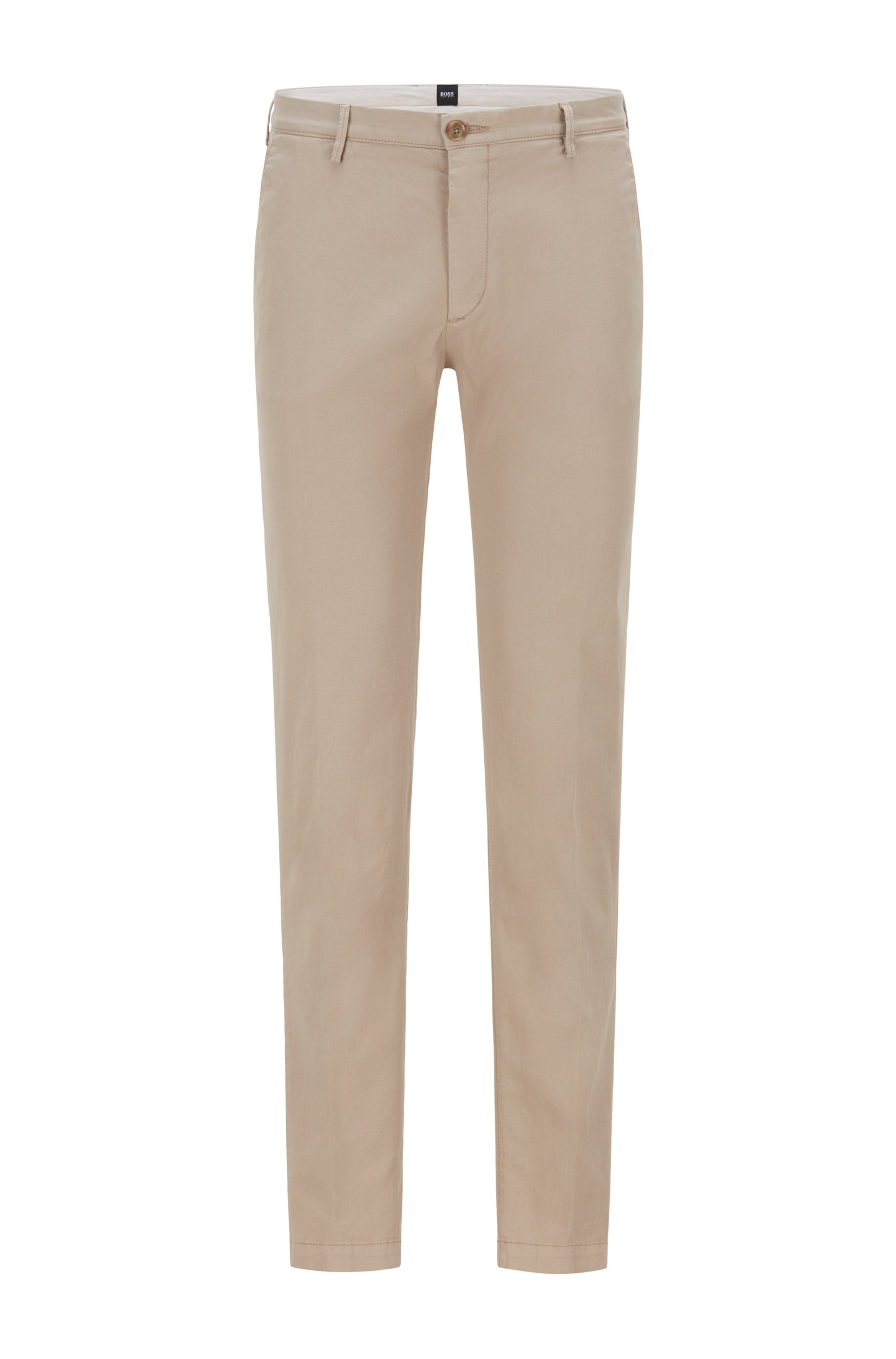Slim-fit chinos in stretch cotton gabardine, Beige