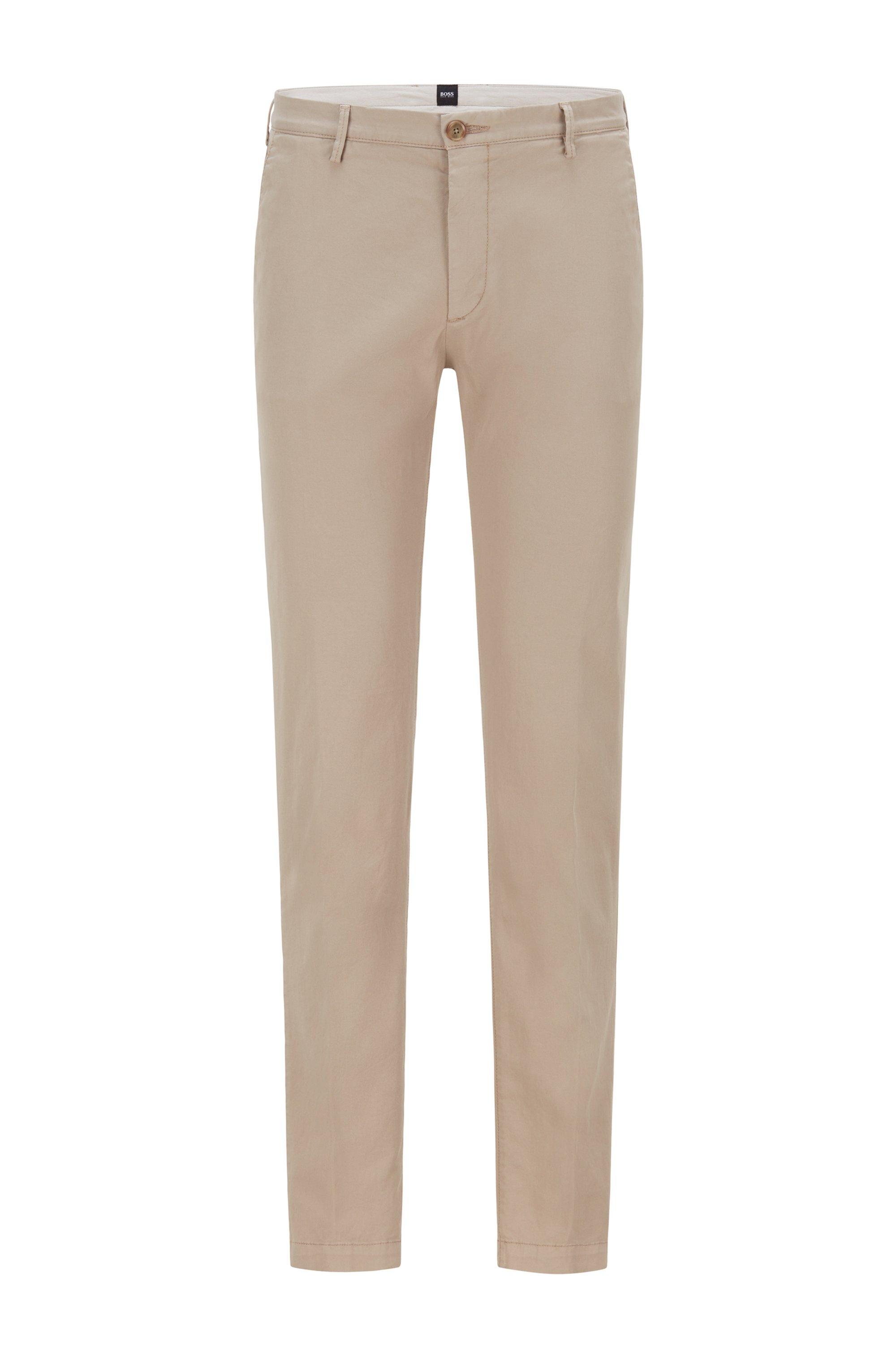 Slim-Fit Chino aus elastischer Baumwoll-Gabardine, Beige
