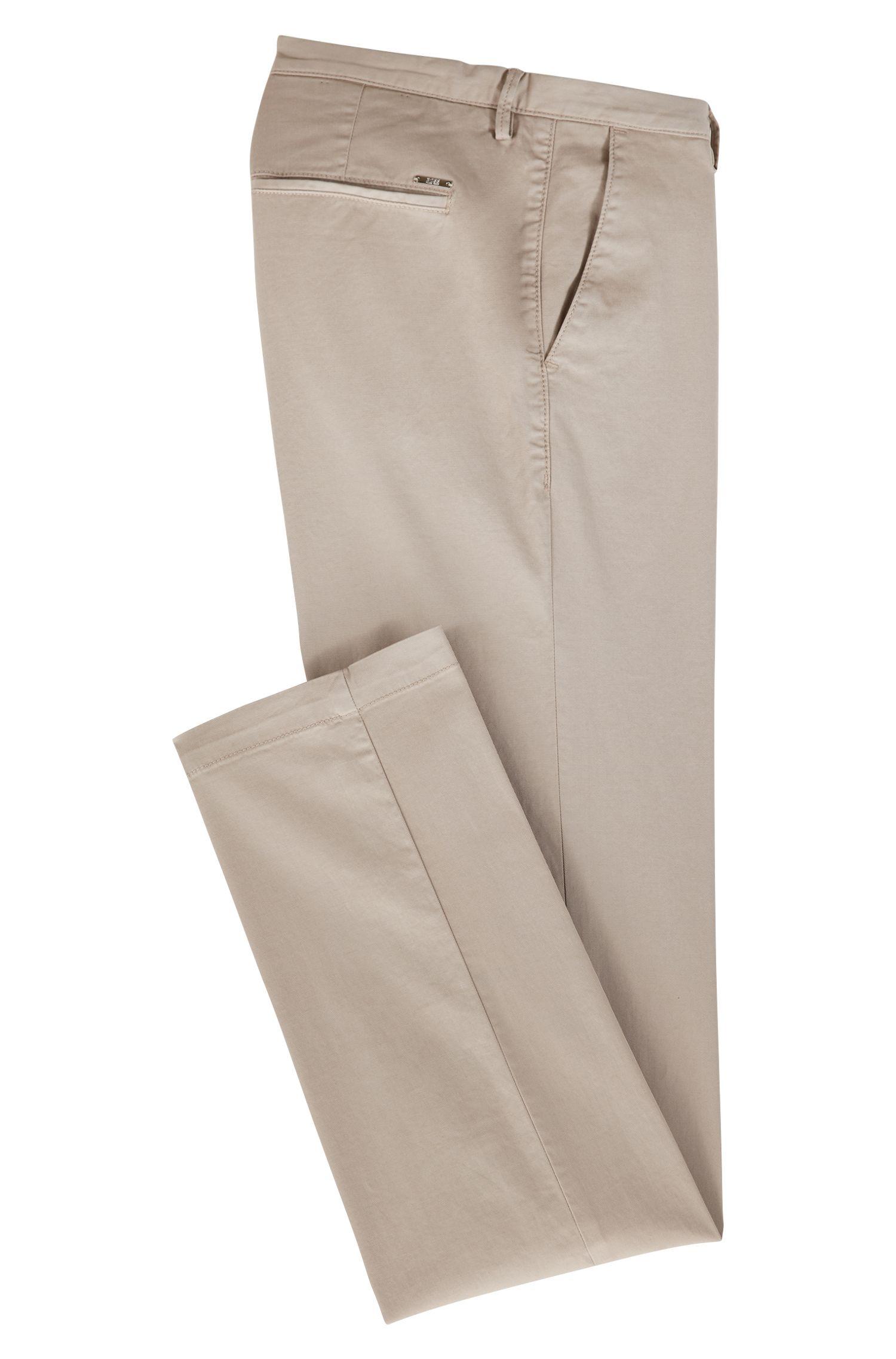 Slim-fit chino in een gabardine van stretchkatoen, Beige