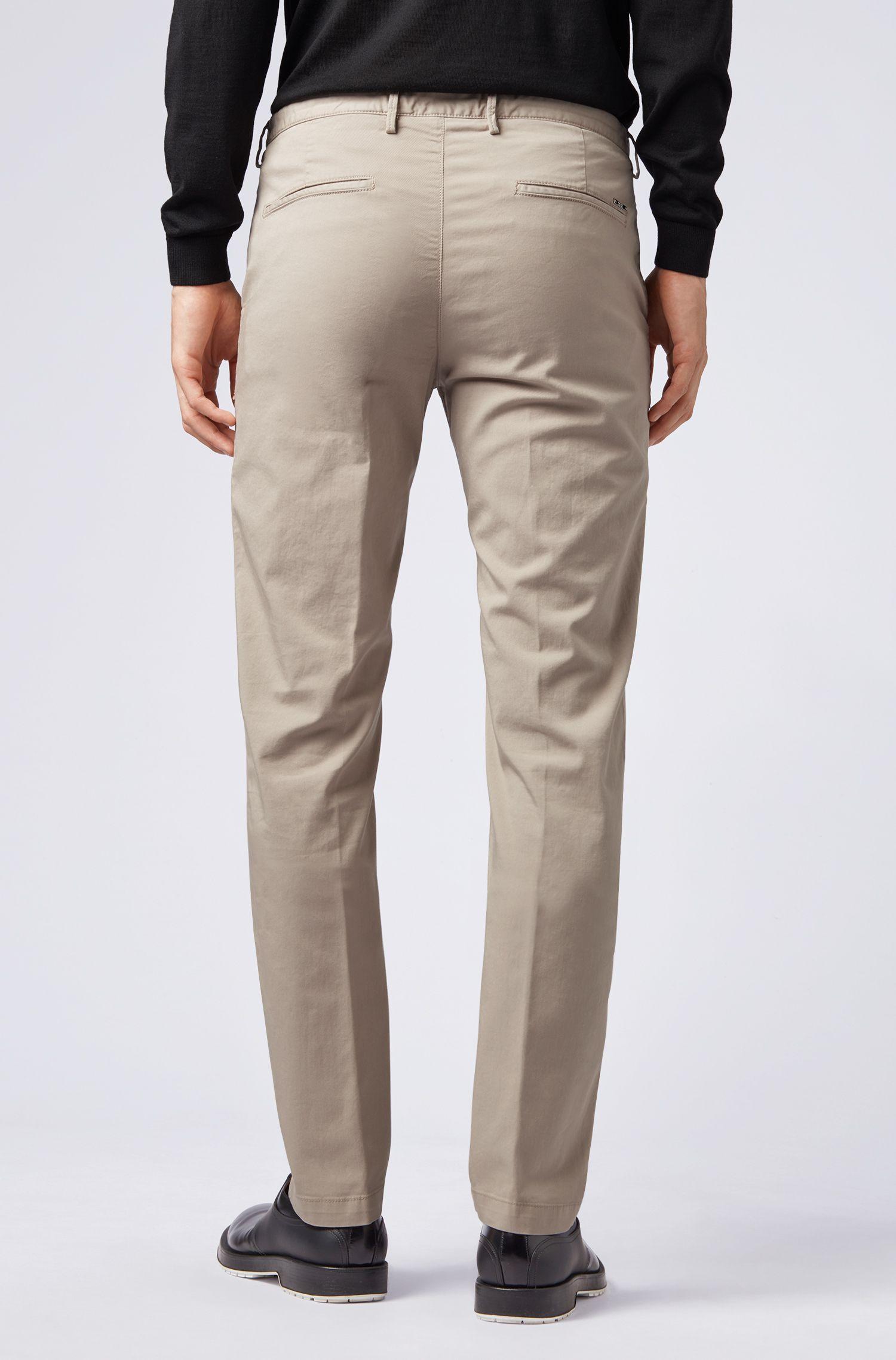 Slim-fit chinos in stretch cotton gabardine, Beige
