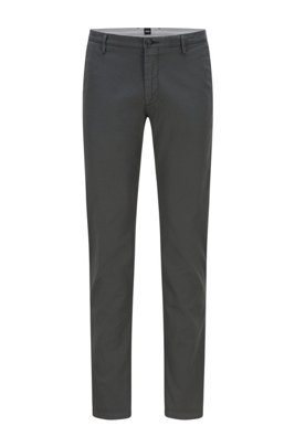 Slim-fit chinos in stretch cotton gabardine, Dark Green