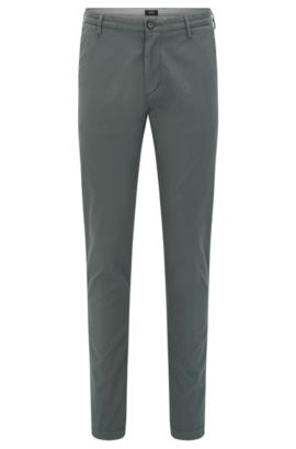 Chino Slim Fit en sergé stretch, Vert sombre