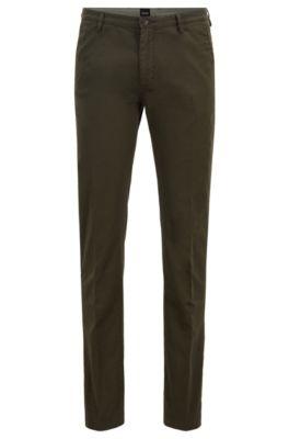 Slim-fit chinos in stretch cotton gabardine, Dark Green