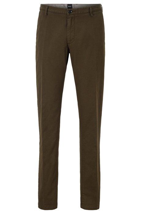 Chino slim fit in gabardine di cotone elasticizzato, Verde scuro