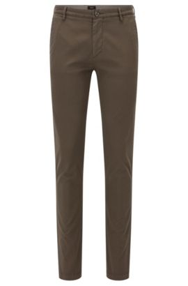 Slim-fit chinos in stretch twill, Open Green