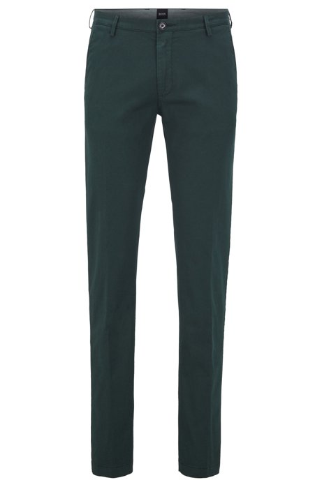 Slim-fit chinos in stretch cotton gabardine, Green