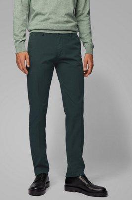 Slim-fit chinos in stretch cotton gabardine, Green