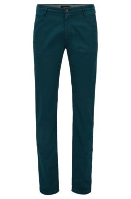Slim-fit chinos in stretch twill, Dark Green