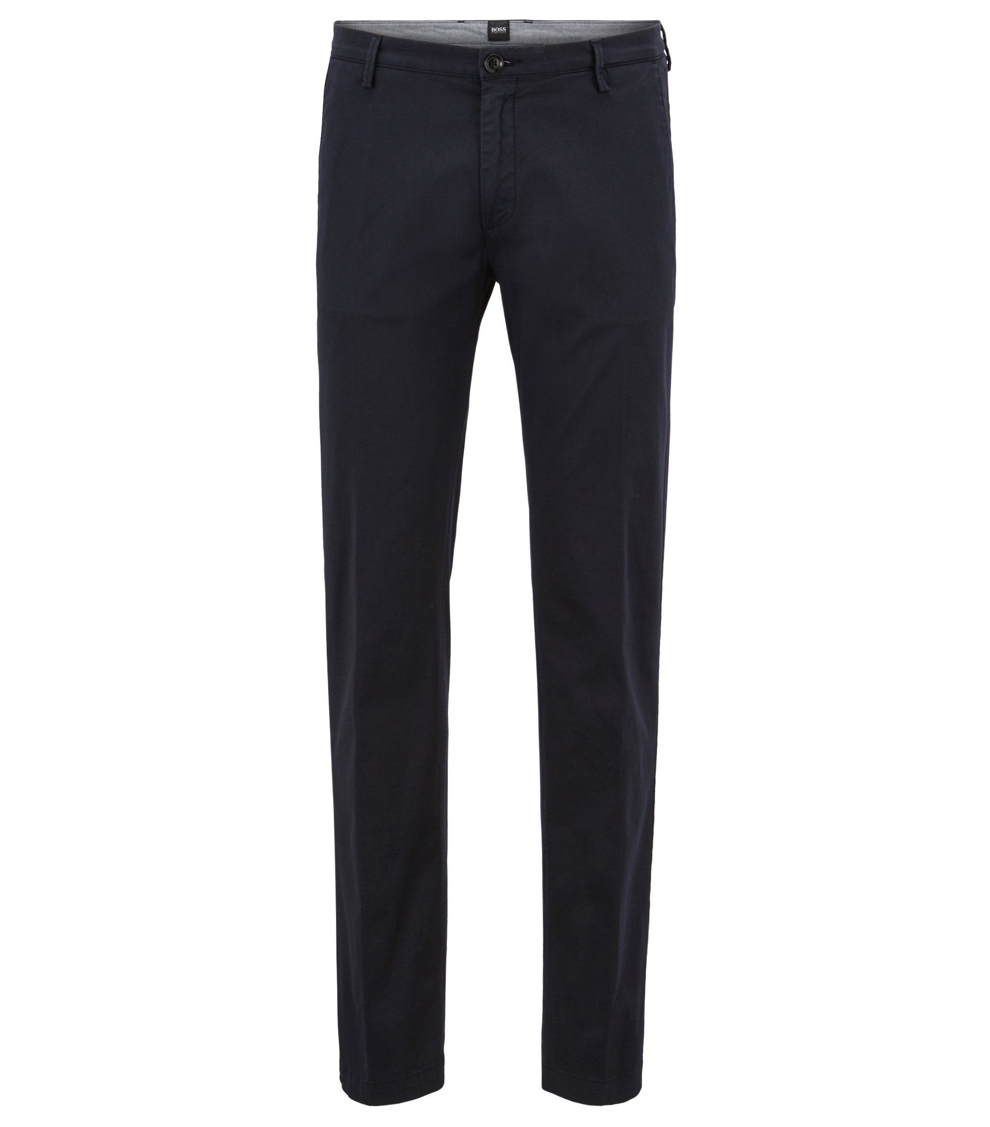 Slim-fit chinos in stretch twill, Dark Blue