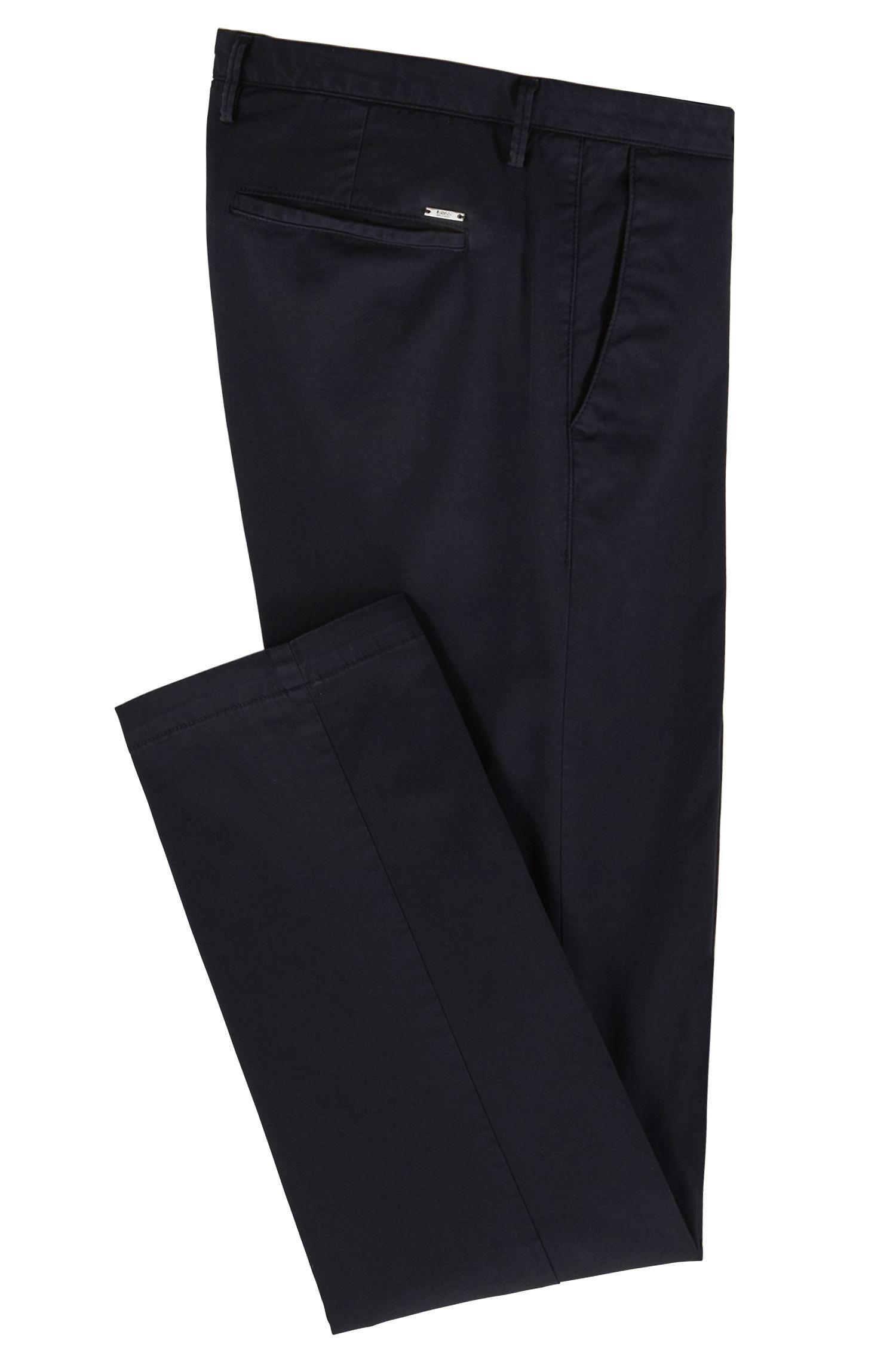 Slim-fit chino in een gabardine van stretchkatoen, Donkerblauw