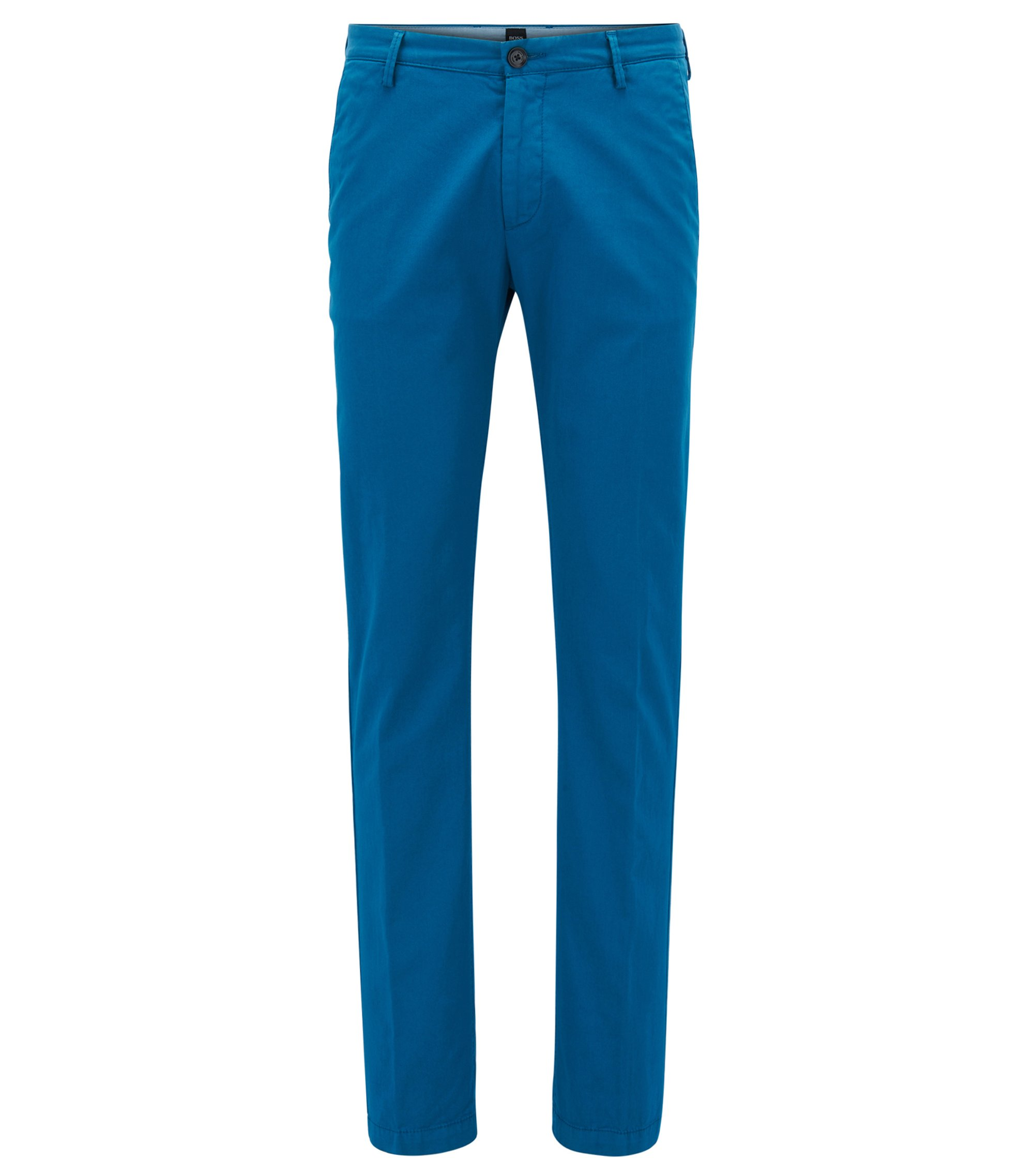 Slim-fit chinos in stretch cotton gabardine, Turquoise