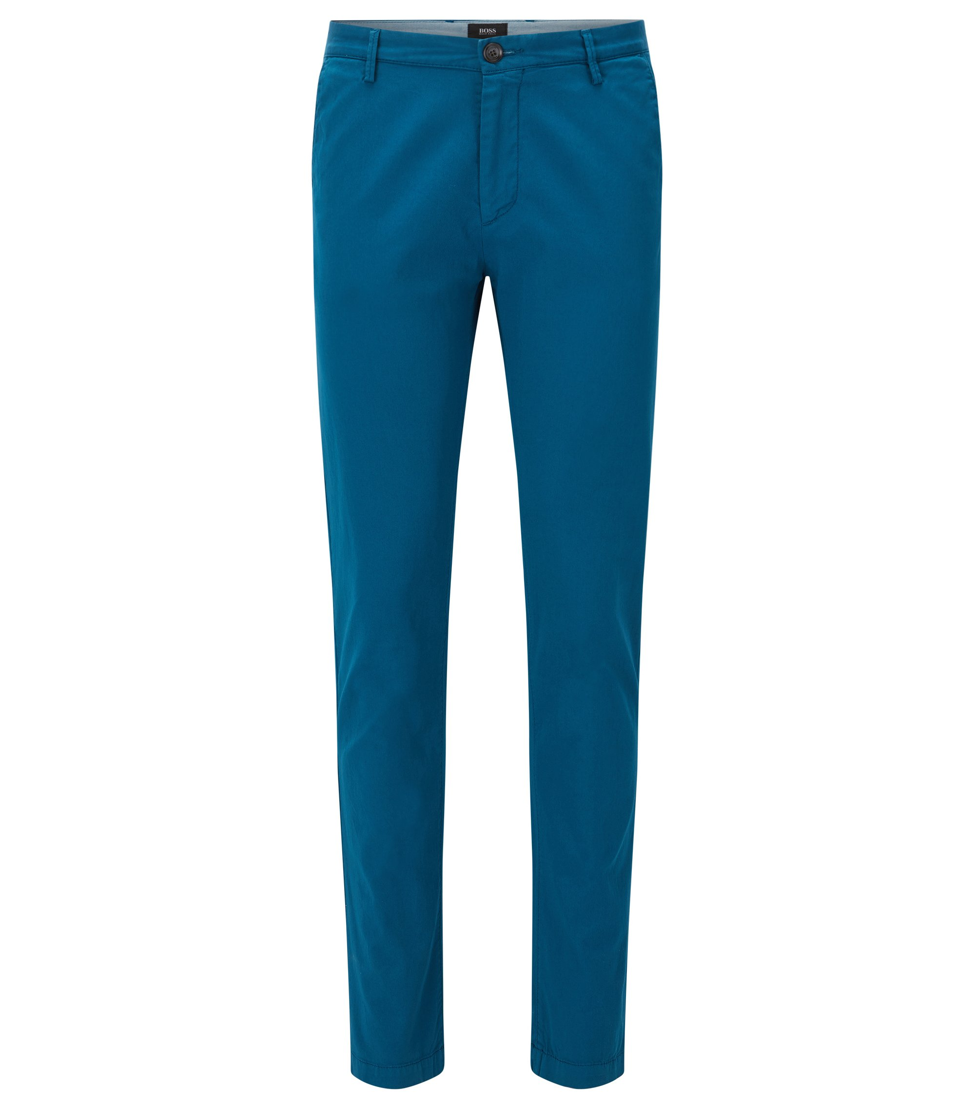 Chino Slim Fit en sergé stretch, Turquoise