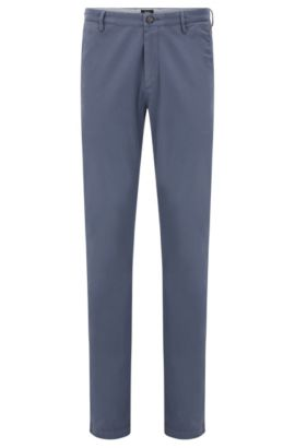 Slim-fit chinos in stretch twill, Open Blue