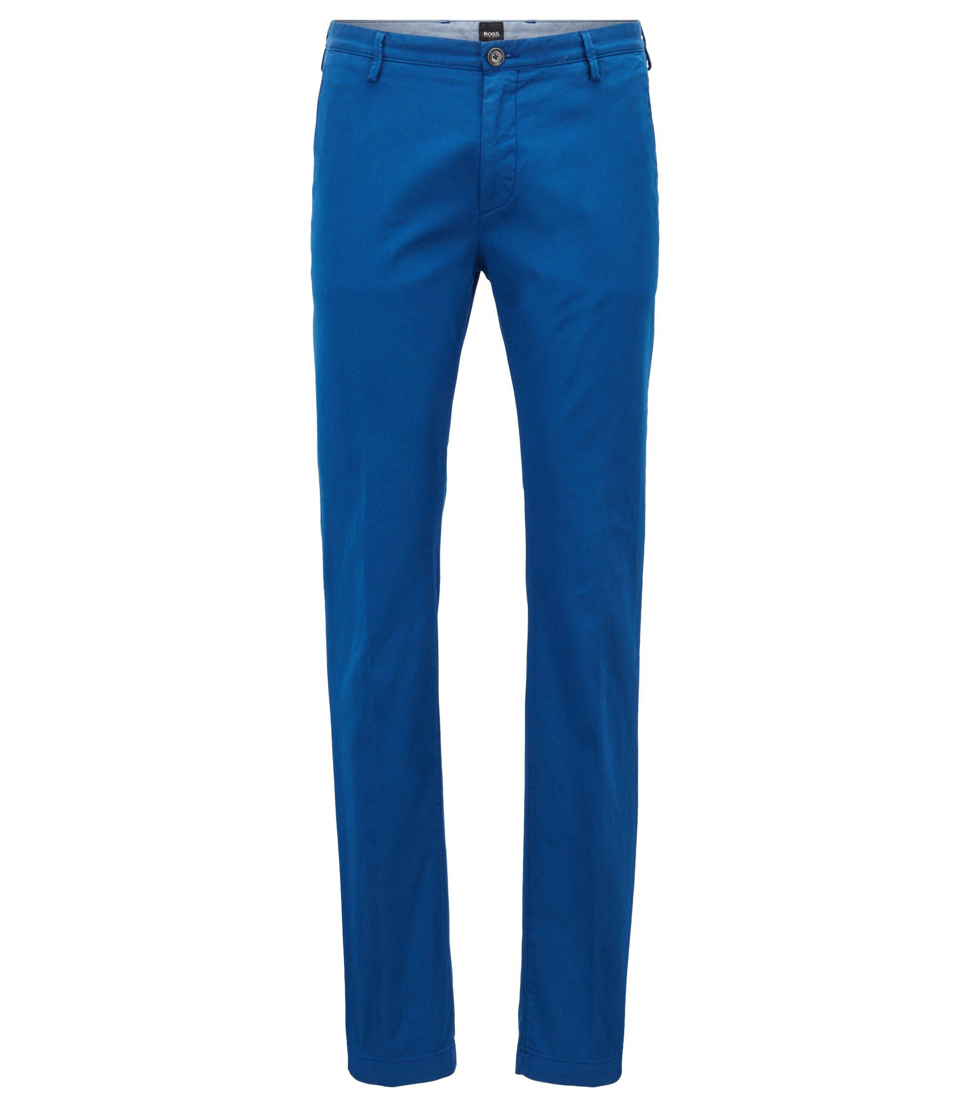 Chinos slim fit en tejido de gabardina de algodón elástico, Azul