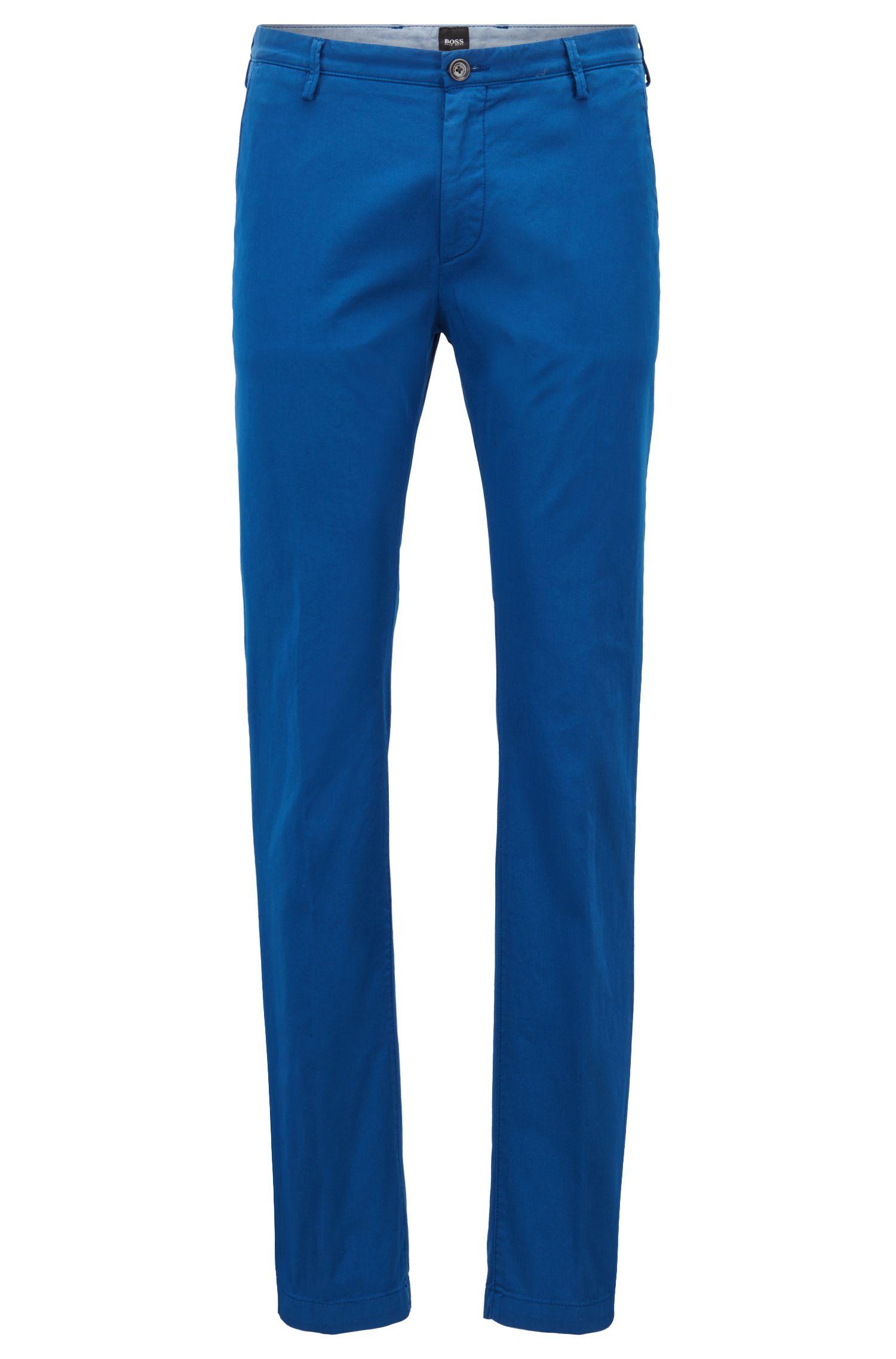 Slim-Fit Chino aus elastischer Baumwoll-Gabardine, Blau