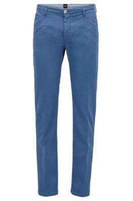 Slim-fit chino in een gabardine van stretchkatoen, Blauw