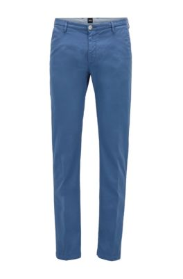 Chino Slim Fit en gabardine de coton stretch, Bleu