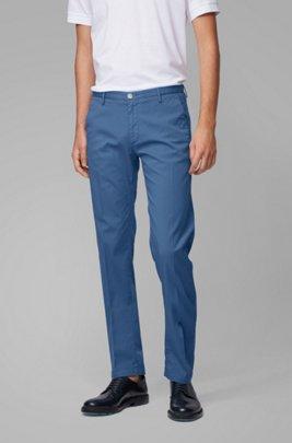 Slim-fit chinos in stretch cotton gabardine, Blue
