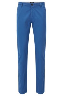 Chino slim fit in twill elasticizzato, Blu