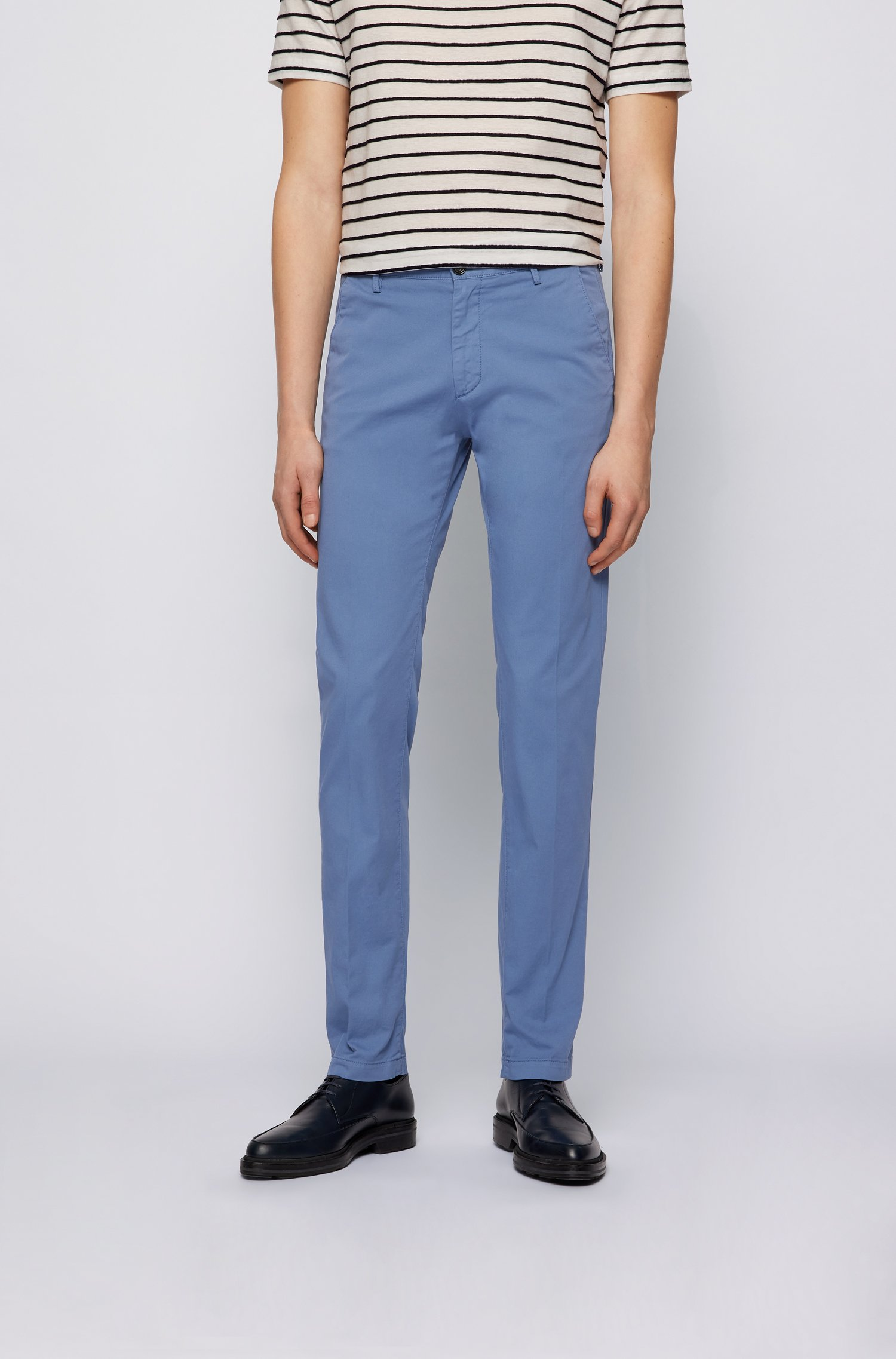 Slim-fit chinos in stretch cotton gabardine, Light Blue