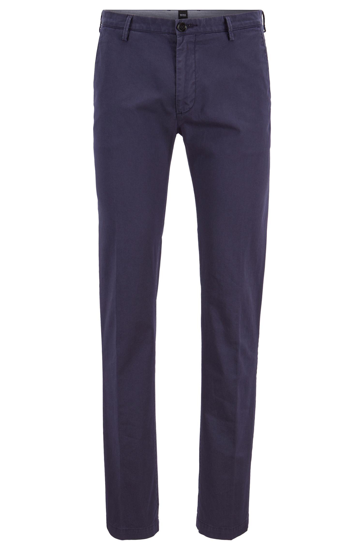 Chino slim fit in gabardine di cotone elasticizzato, Blu scuro