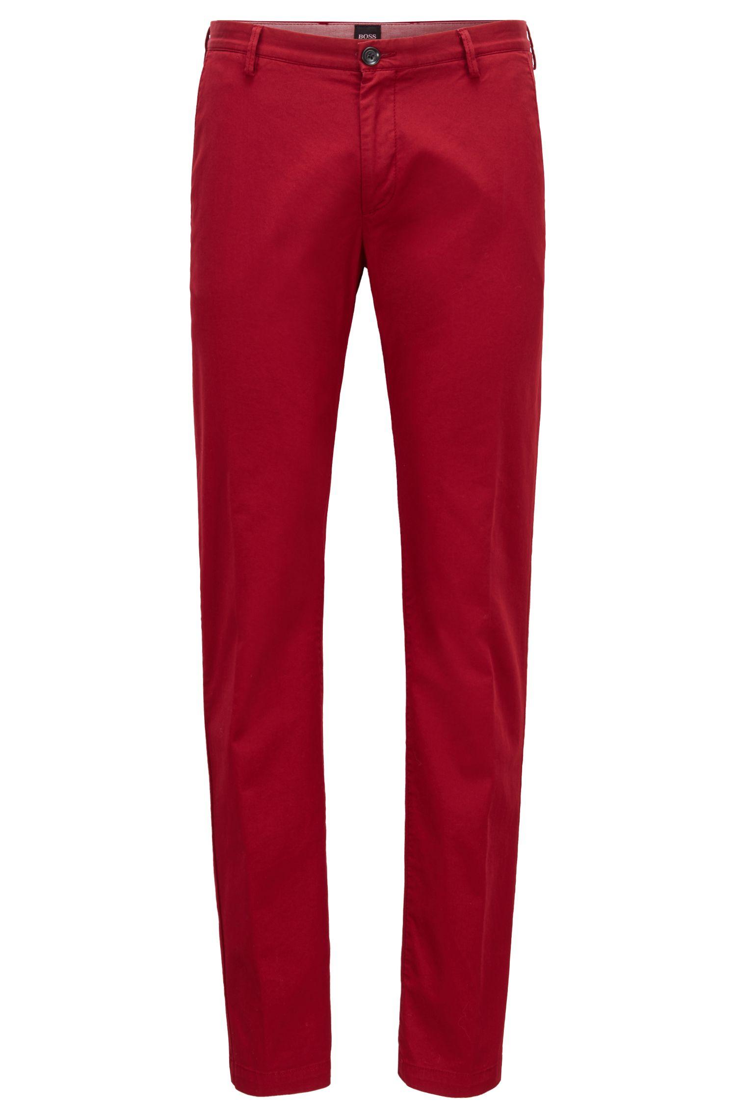 Chinos slim fit en tejido de gabardina de algodón elástico, Rojo oscuro