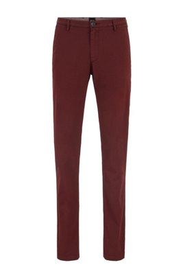 Slim-fit chinos in stretch cotton gabardine, Dark Red