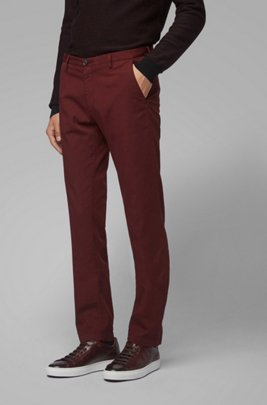 Slim-fit chinos in stretch cotton gabardine, Dark Red