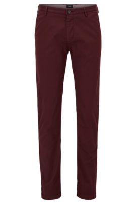 Chino Slim Fit en sergé stretch, Rouge sombre