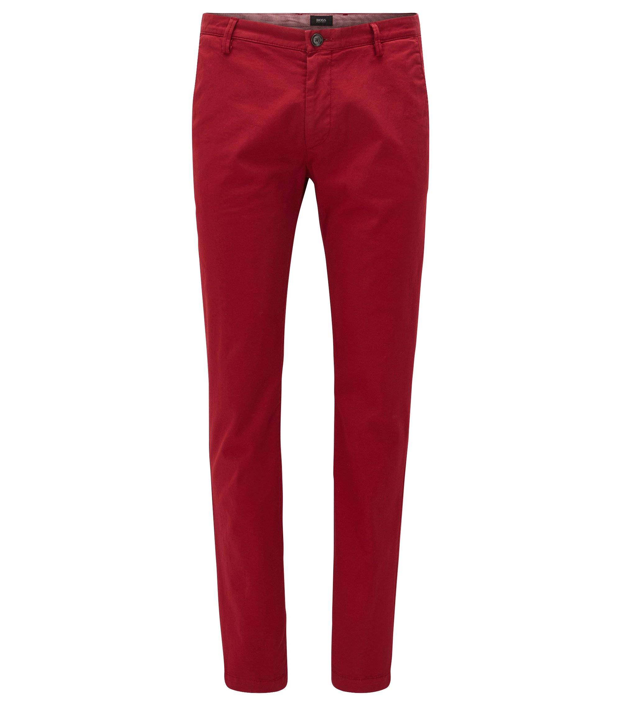 Chino Slim Fit en sergé stretch, Rouge