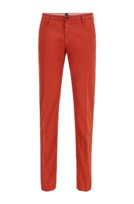 Slim-fit chinos in stretch cotton gabardine, Light Orange