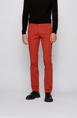 Slim-fit chinos in stretch cotton gabardine, Light Orange