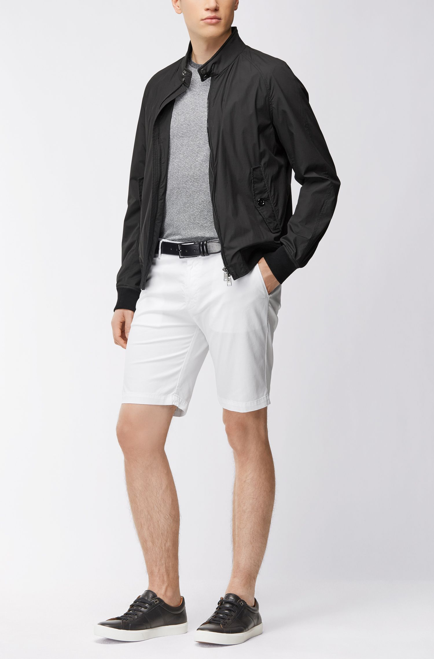 Slim-fit short in een gabardine van stretchkatoen