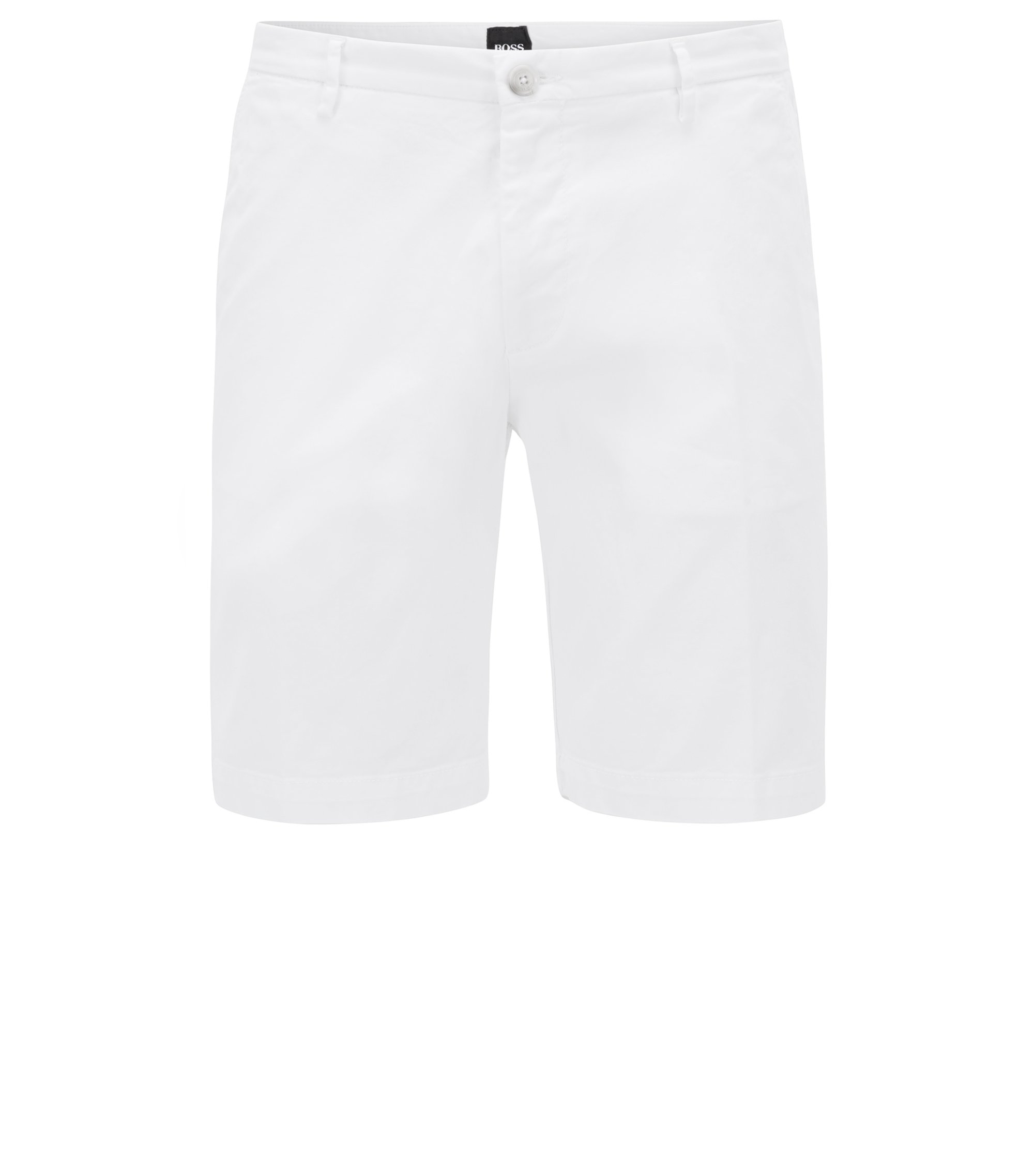 Slim-fit short in een gabardine van stretchkatoen, Wit