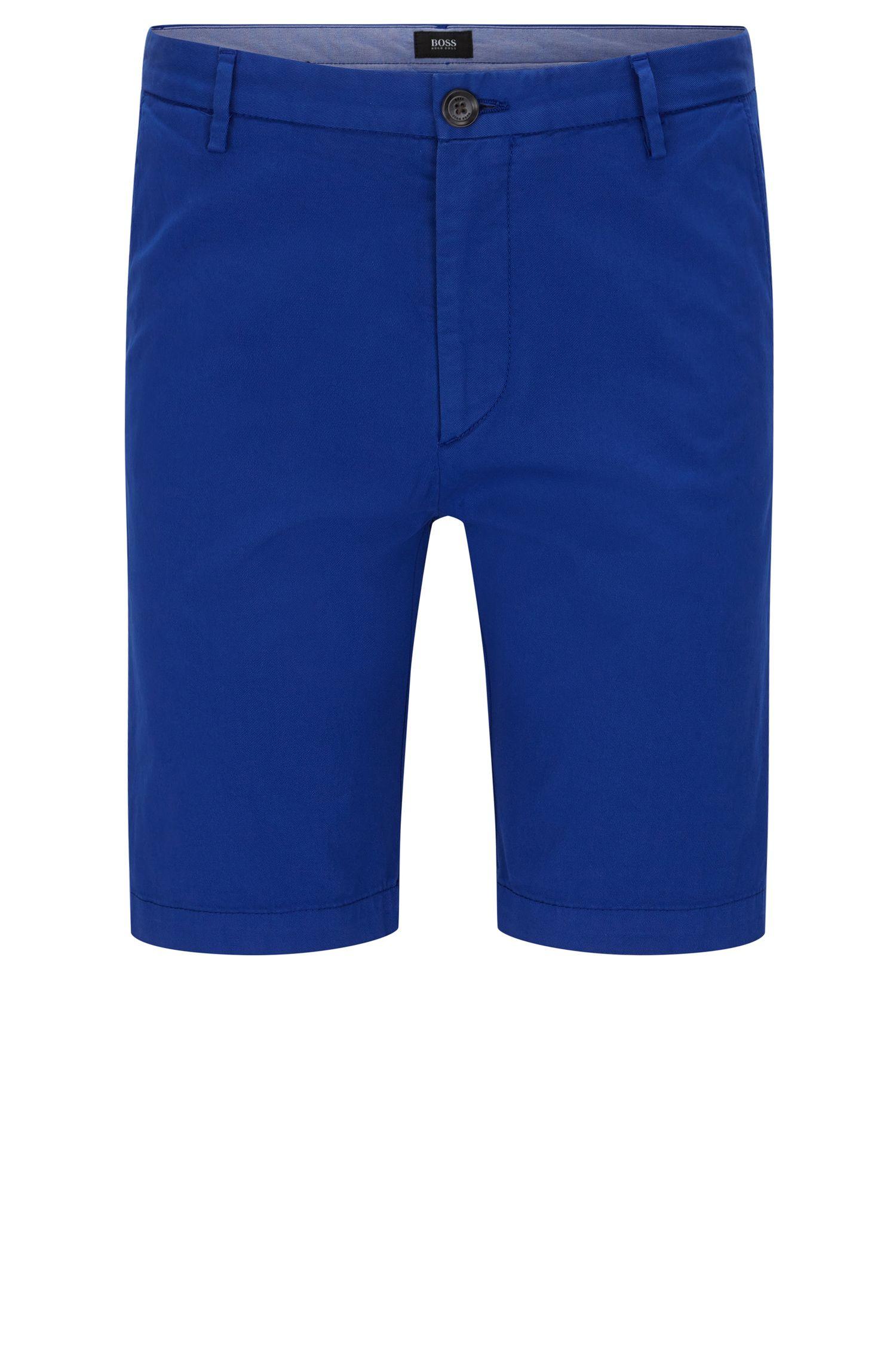 Plain slim-fit shorts in stretch cotton: 'RiceShort3-D'