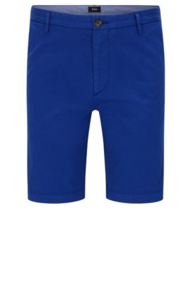 Plain slim-fit shorts in stretch cotton: 'RiceShort3-D', Blue