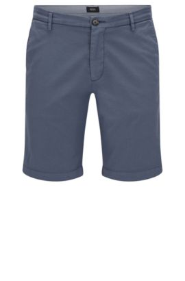 Plain slim-fit shorts in stretch cotton: 'RiceShort3-D', Open Blue