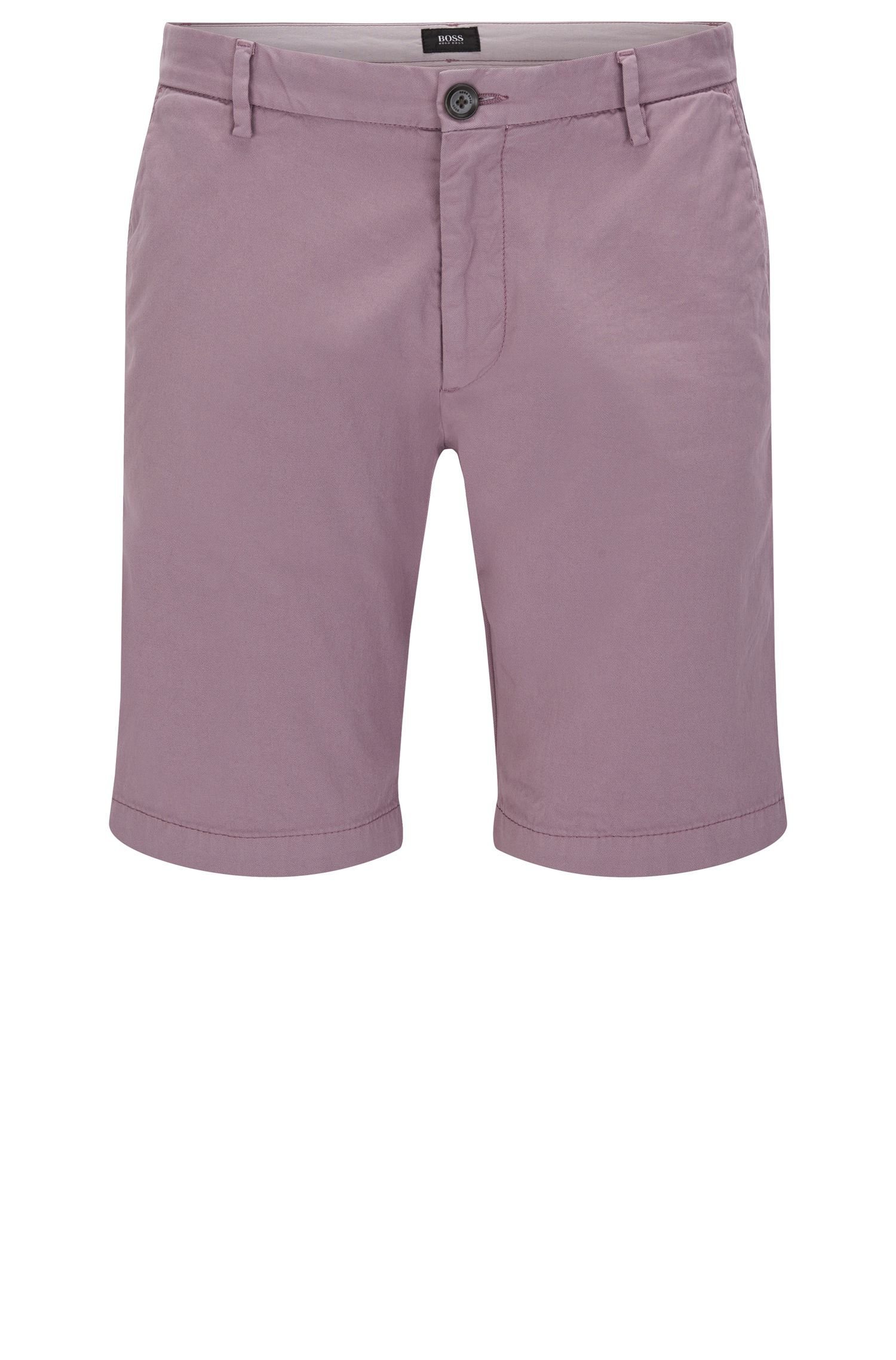 Plain slim-fit shorts in stretch cotton: 'RiceShort3-D'