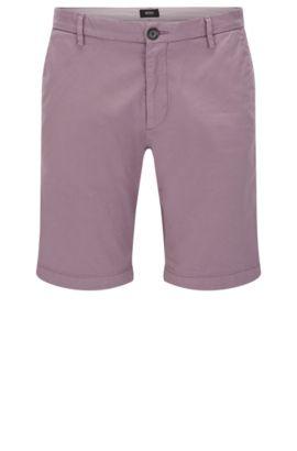 Plain slim-fit shorts in stretch cotton: 'RiceShort3-D', Light Purple